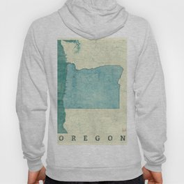 Oregon State Map Blue Vintage Hoody