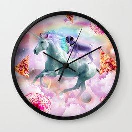 Rainbow Pug In Space Riding A Unicorn Wall Clock