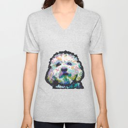 maltese poodle Maltipoo Dog Portrait Pop Art painting by Lea Unisex V-Neck