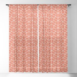 Red hexagons Sheer Curtain