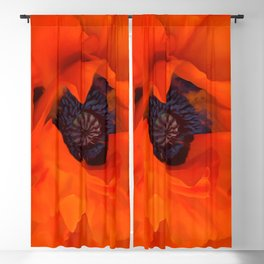 Red Poppy Rich Petals Multiplication Effect Blackout Curtain