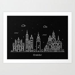 Krakow Minimal Nightscape / Skyline Drawing Art Print