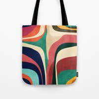 map Tote Bags featuring Impossible contour map by Picomodi