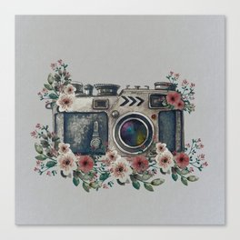 Camera with Summer Flowers Canvas Print
