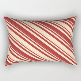 Brown & Bisque Colored Lined Pattern Rectangular Pillow