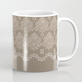 Coffee Color Damask Chenille with Lacy Edge Coffee Mug