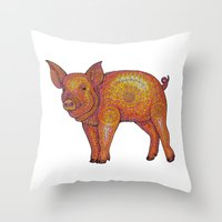 piglet Throw Pillows featuring Patterned Piglet by artworkbyemilie