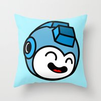 mega man Throw Pillows featuring Mega Man by La Manette