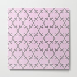 Gray Moroccan lattice on pink Metal Print