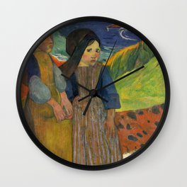 Two Breton Girls by the Sea by Paul Gauguin Wall Clock