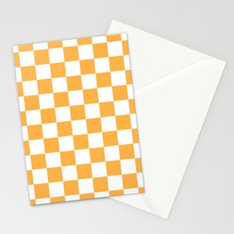 Checkered - White and Pastel Orange Stationery Cards