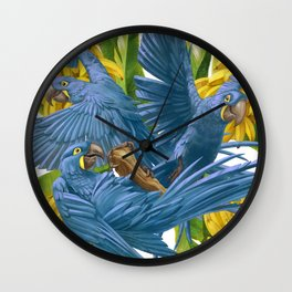 Hyacinth macaws and bananas Stravaganza. Wall Clock