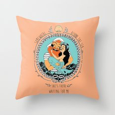 Mermaid and Fisherman Throw Pillow
