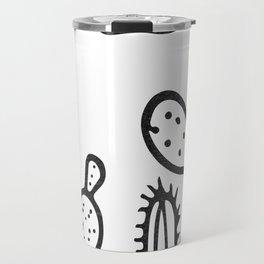 Cactus Garden Black and White Travel Mug