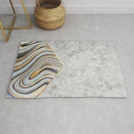 Geometric Concrete Arrow Design - Blue Marble #177 Rug