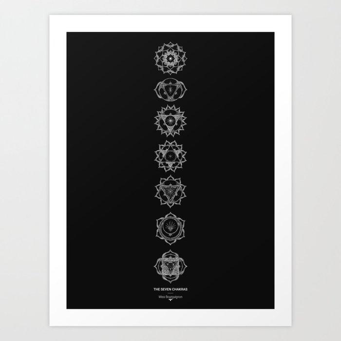 The Seven Chakras White On Black Art Print By Missbourguignon