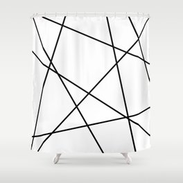 Lines in Chaos II - White Shower Curtain