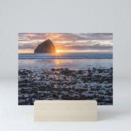 Haystack Rock, Cape Kiwanda, Pacific City at Sunset Mini Art Print