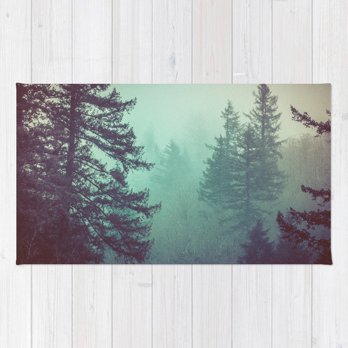 Forest Fog Fir Trees Rug
