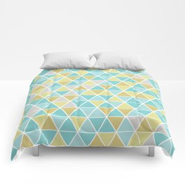 Triangulation (blue and green) Comforters