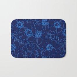 Australian Waxflower Line Floral in Blue Bath Mat