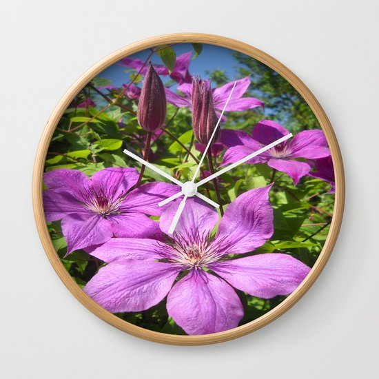 Clematises Wall Clock