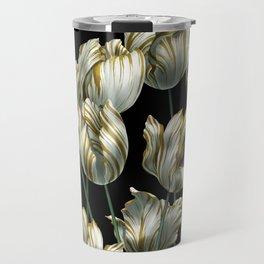 Winter Tulips in Gold. Travel Mug