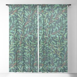 Midnight leaves Sheer Curtain