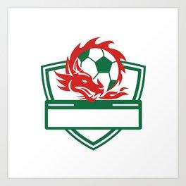 Red Dragon Soccer Ball Crest Art Print