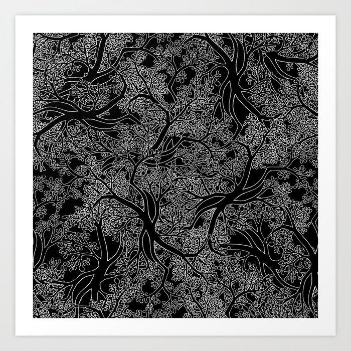 Tree Repeat Black Art Print