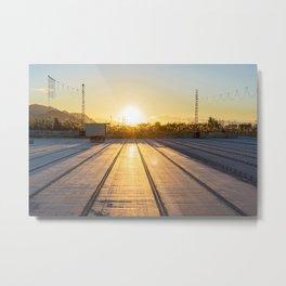sunset over factory Metal Print