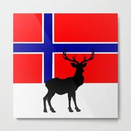 Norwegian Flag with Caribou Silhouette Metal Print