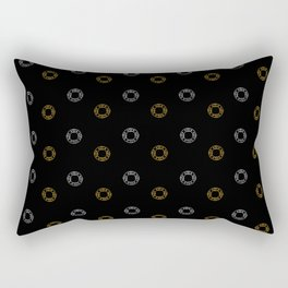 Silver and Gold Christmas Holiday Wreaths on Black Background Rectangular Pillow