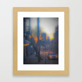 Seattle Street at Sunset Framed Art Print