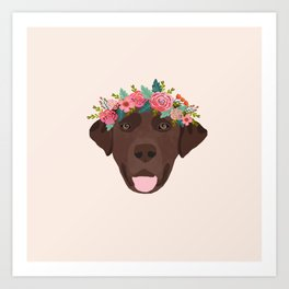 Chocolate Lab floral crown dog breed pet art labrador retrievers dog lovers giftsChocolate Lab flora Art Print