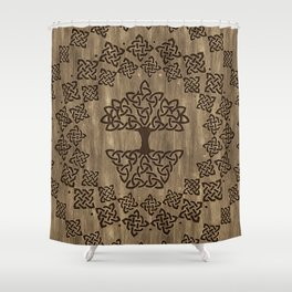 Triquetra - Tree of life -Wooden Texture Shower Curtain