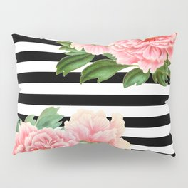 Pink Peonies Black Stripes Pillow Sham