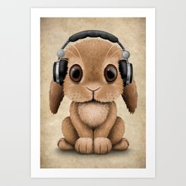 Cute Baby Bunny Dj Wearing Headphones Art Print