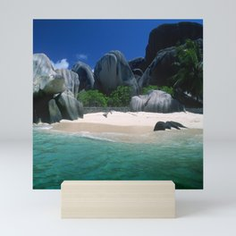 Seychelles Islands' Beach and Emerald Green Indian Ocean Mini Art Print