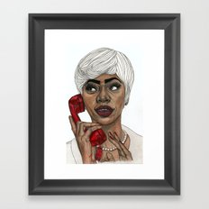 Girl with the Red Telephone Framed Art Print