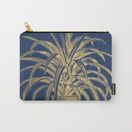 Gold houseplant on navy peony Carry-All Pouch