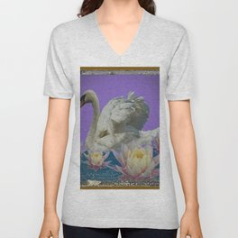 Grungy White Swan & Water Lilies Lilac Art Patterns Unisex V-Neck