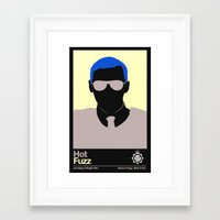 hot fuzz Framed Art Prints featuring Hot Fuzz Minimalist Poster (Edgar Wright Series) by Ryan Polly