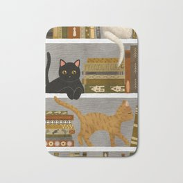 cat bookshelf Bath Mat