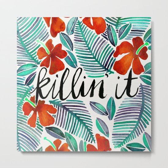 Killin' It – Tropical Red & Green Metal Print