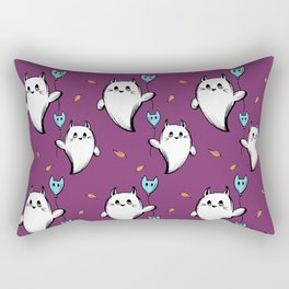 Cute Ghost Cat with Balloon, Pink Background Rectangular Pillow