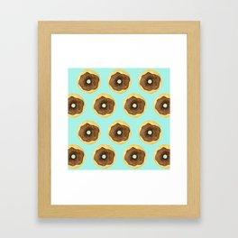 Donut Pattern - Blue Framed Art Print