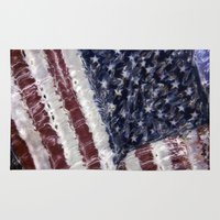 american flag Area & Throw Rugs featuring American Flag by Kimpressions