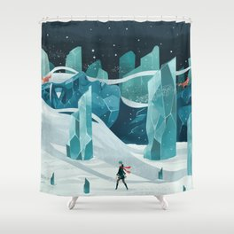 The wanderer and the ice forest Shower Curtain