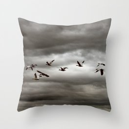 October Storm, Headed Home (Snow Geese) Throw Pillow